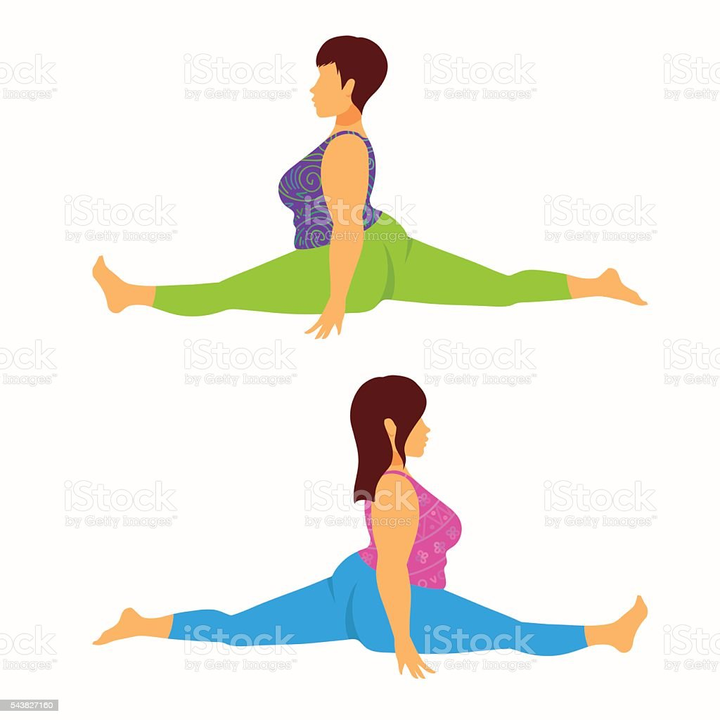 Plus size young women doing forward split. vector art illustration