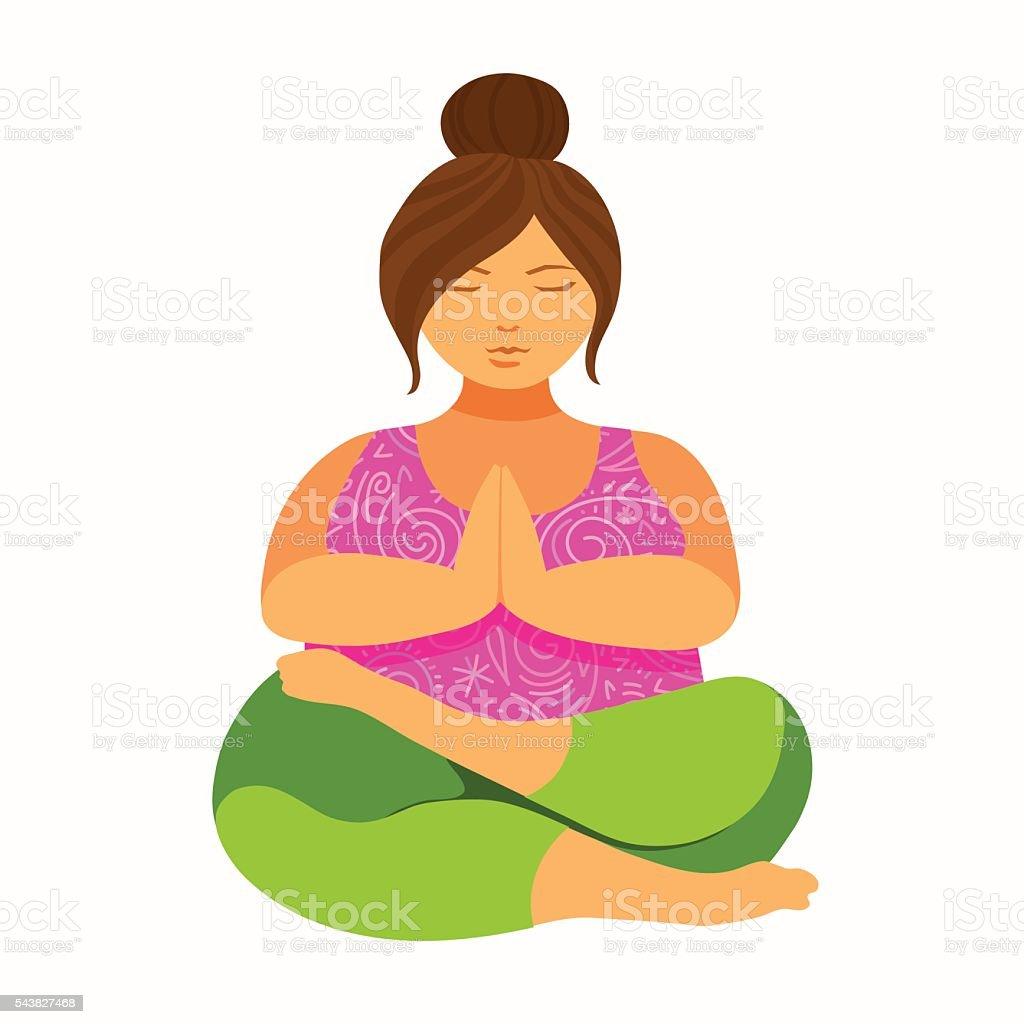 Plus size young women doing yoga namaste lotus asana. vector art illustration