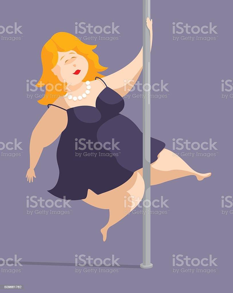Download Plus Sized Woman Feeling Sexy And Pole Dancing Stock ...