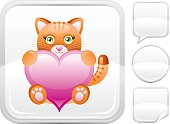 Plush red cat with heart vector icon on silver button background with althernative button variations – speaking bubble, round button and sticker. CDR-11, AI -10, JPG. For Valentine's day or other romantic event.