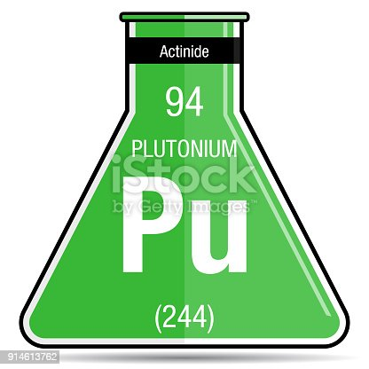 Plutonium Symbol On Chemical Flask Element Number 94 Of The Periodic