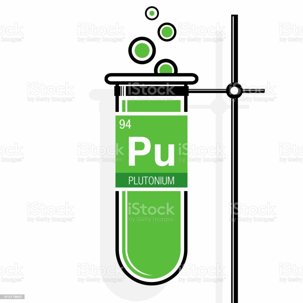 Plutonium Symbol On Label In A Green Test Tube With Holder Element