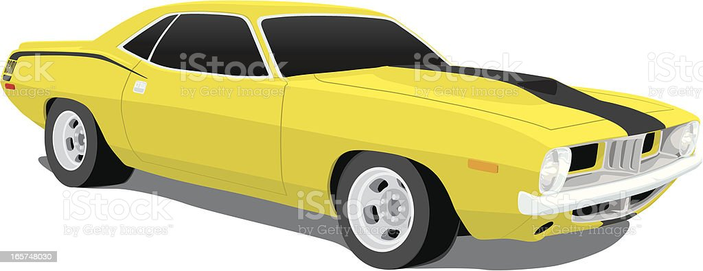 Plymouth 'Cuda Muscle Car from 1970 vector art illustration