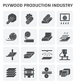 Plywood production industry icon set for plywood production industry design element.