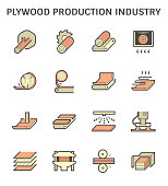 Plywood production industry vector icon set design.