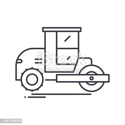 Pneumatic tyred rollers icon, thin line isolated illustration, linear vector web design sign, outline concept symbol with editable stroke on white background.