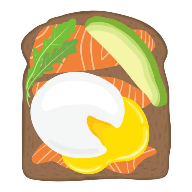 pochierte eier mit lachs und avocado auf toast-brot. leckeren spiegelei lox-sandwich mit toastbrot. vektor-illustration. - dinkelbrot stock-grafiken, -clipart, -cartoons und -symbole
