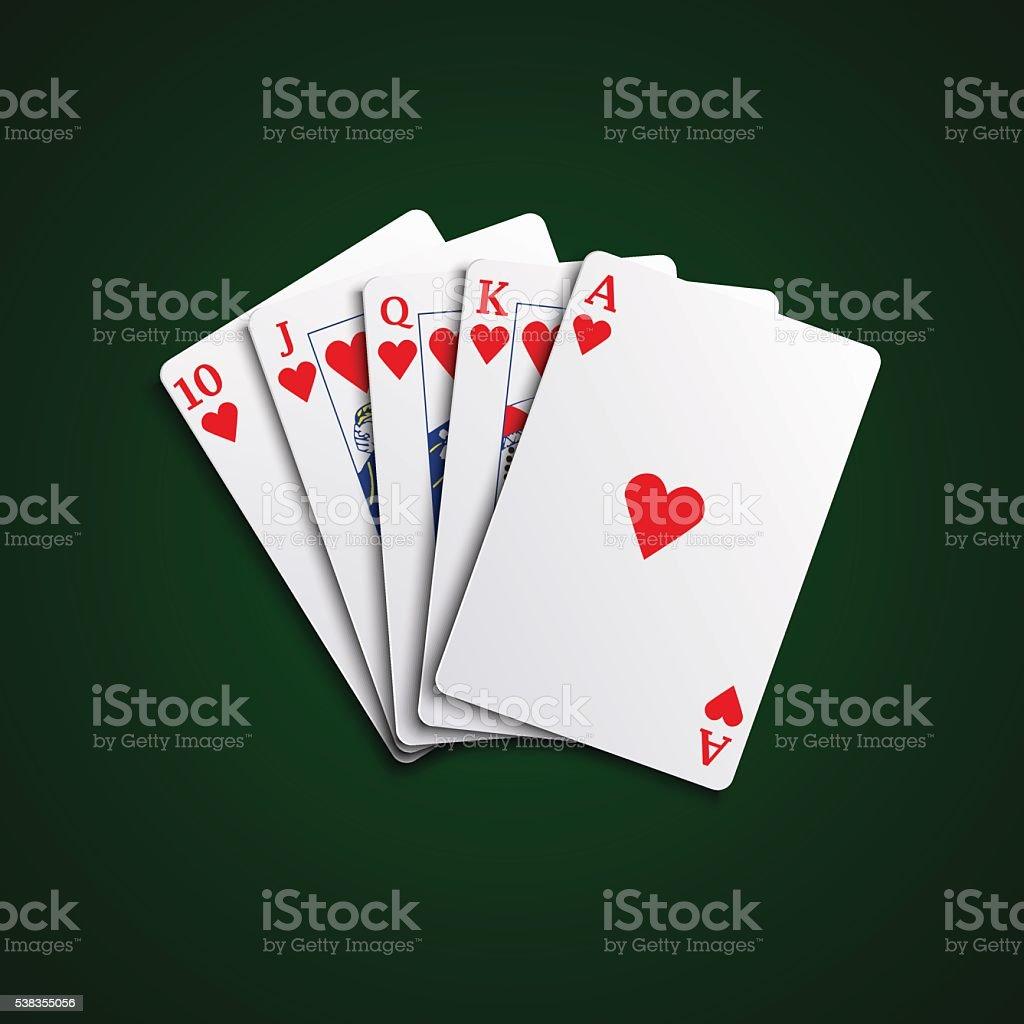 Cartões Pocker descarga corações mão - ilustração de arte em vetor