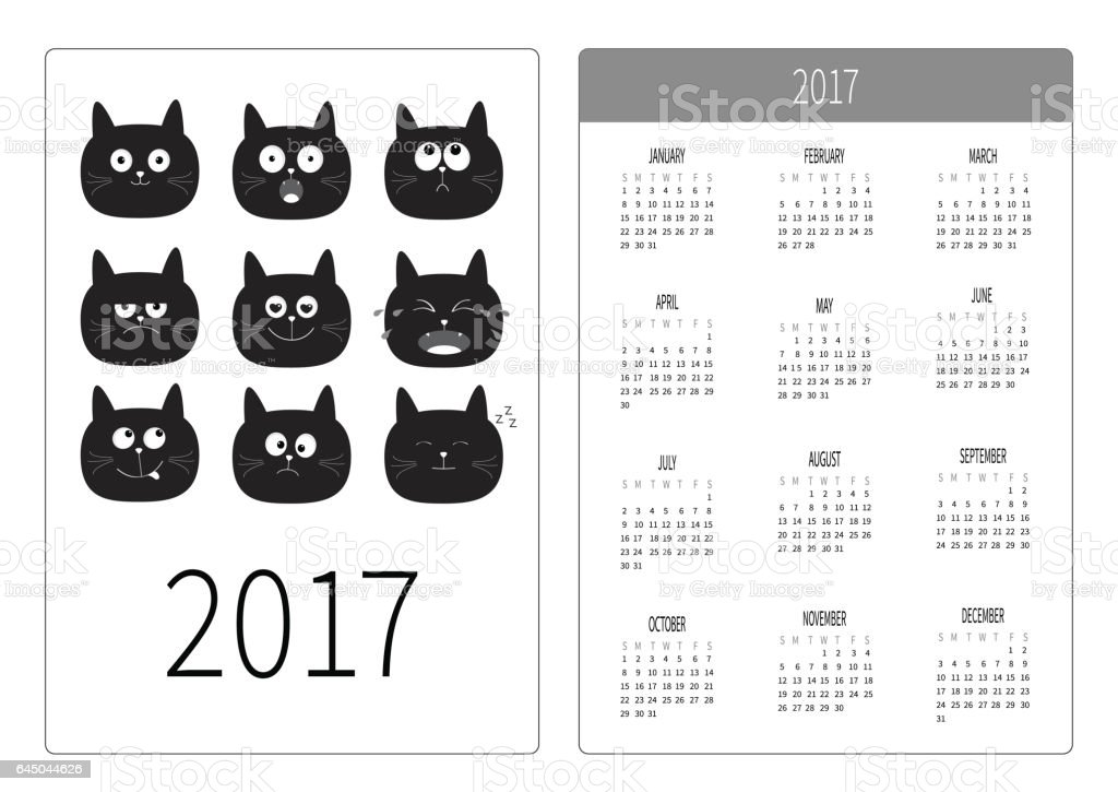 Pocket Calendar 2017 Year Cute Black Cat Head Face Emotion Set Stock