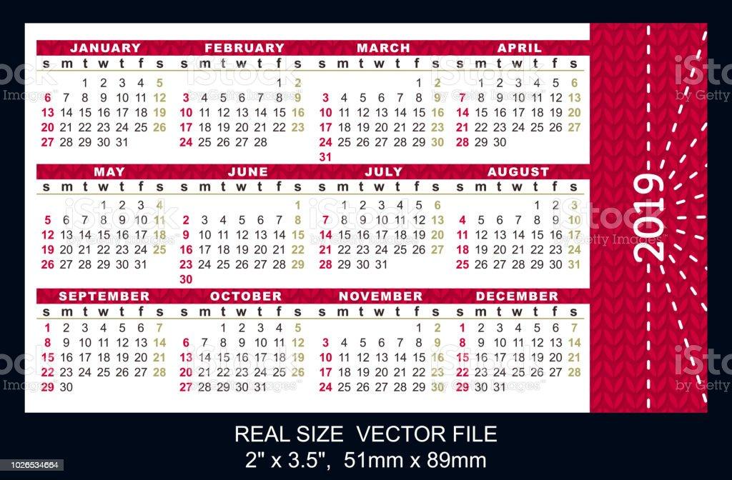 Calendrier De Poche 2019.Calendrier De Poche 2019 Depart Le Dimanche Vector Taille 2