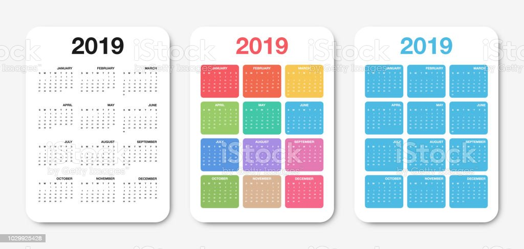 Pocket Calendar 2019 Template Colorful Compact Calendar Design For