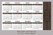 "Pocket calendar 2020, start on Sunday SIZE: 2"" x 3.5"", 51mm x 89mm"