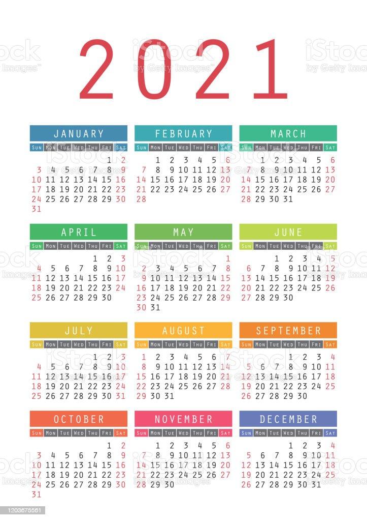 Pocket Calendar 2021 Year Vector Wall Calender Template Simple
