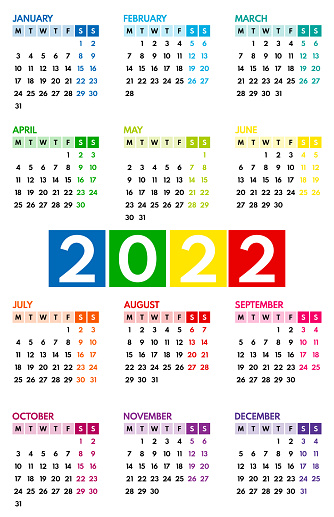 2022 pocket calendar, first day monday, two weekends, colorful on white background, vertical layout, vector illustration