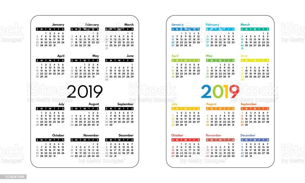 Calendrier De Poche 2019.Calendrier De Poche 2019 Premier Jour Dimanche Illustration