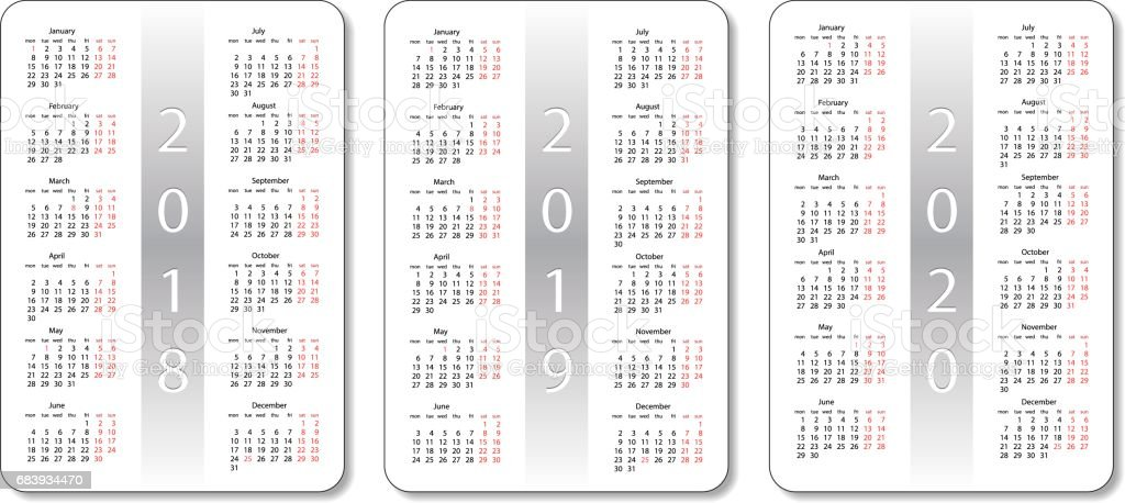 Pocket Calendar Set 2018 2019 And 2020 Years White Vector Design