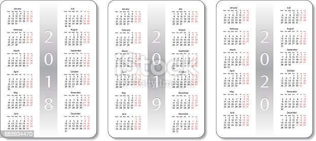 pocket calendar set 2018 2019 and 2020 years white vector