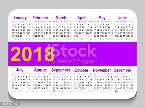2018 Pocket Calendar Template Calendar Grid Horizontal Orientation