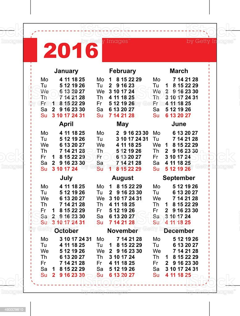 2016 Pocket Calendar Template Grid Vertical Orientation Days