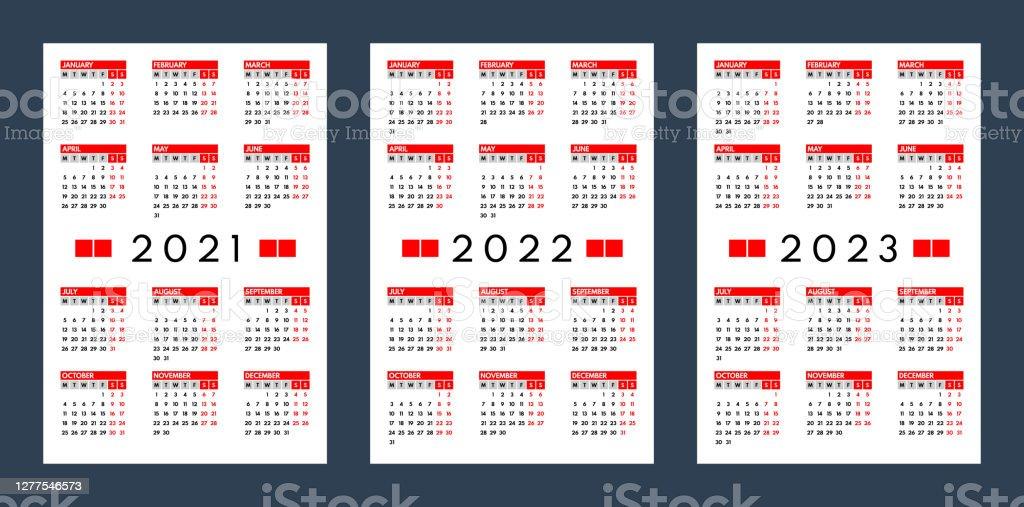 2022 2023 Pocket Calendar.2021 2022 2023 Pocket Calendars Set Monday First Stock Illustration Download Image Now Istock