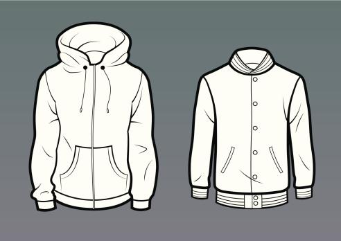 Pocket hoodie and baseball jacket
