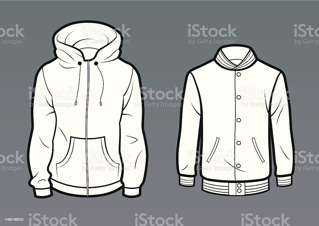 Pocket hoodie and baseball jacket vector art illustration