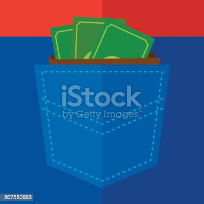Vector illustration of a back pocket with a wallet of money in it.