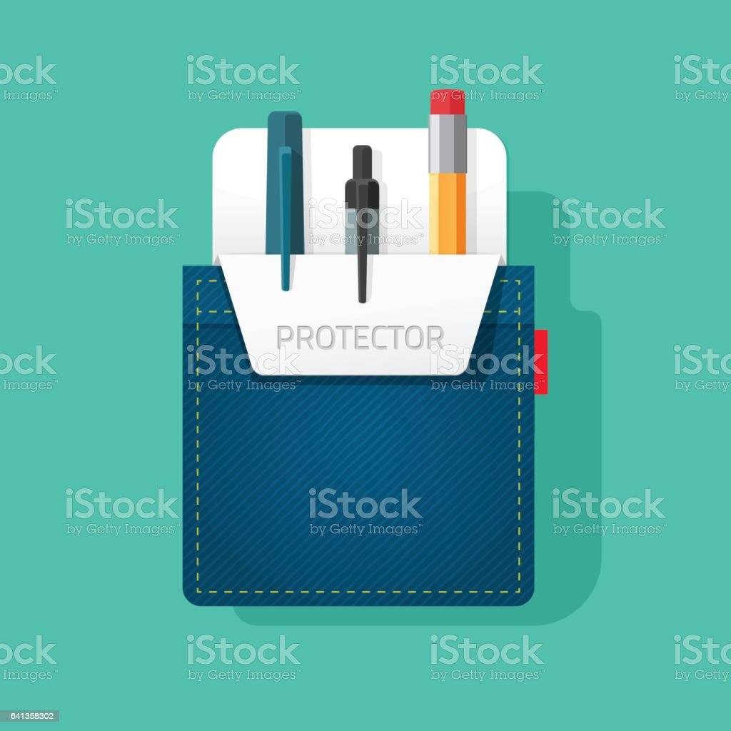 Pocket protector vector, flat style jeans shirt pocket with pen and pencils, tools vector art illustration