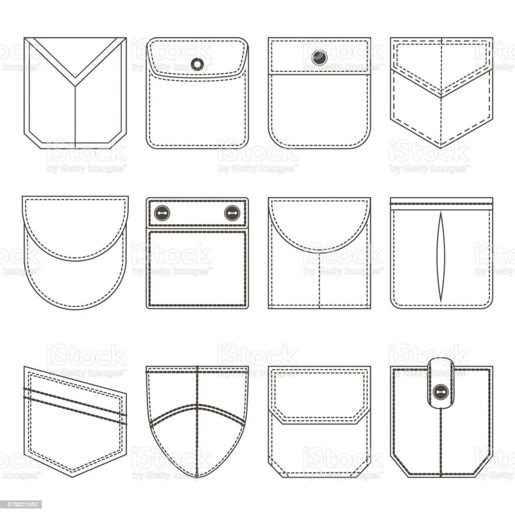 Pocket Thin Line Black Icon Set. Vector vector art illustration