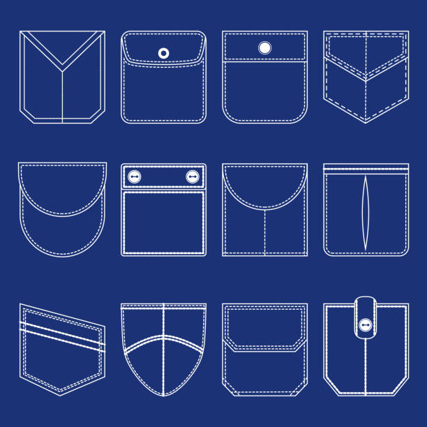 Pocket Thin Line White Icon Set. Vector Different Pocket Thin Line White Icon Set Part of Clothing Style Design Elements. Vector illustration flapping wings stock illustrations