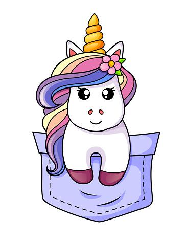 Pocket unicorn. Vector illustration isolated on white background