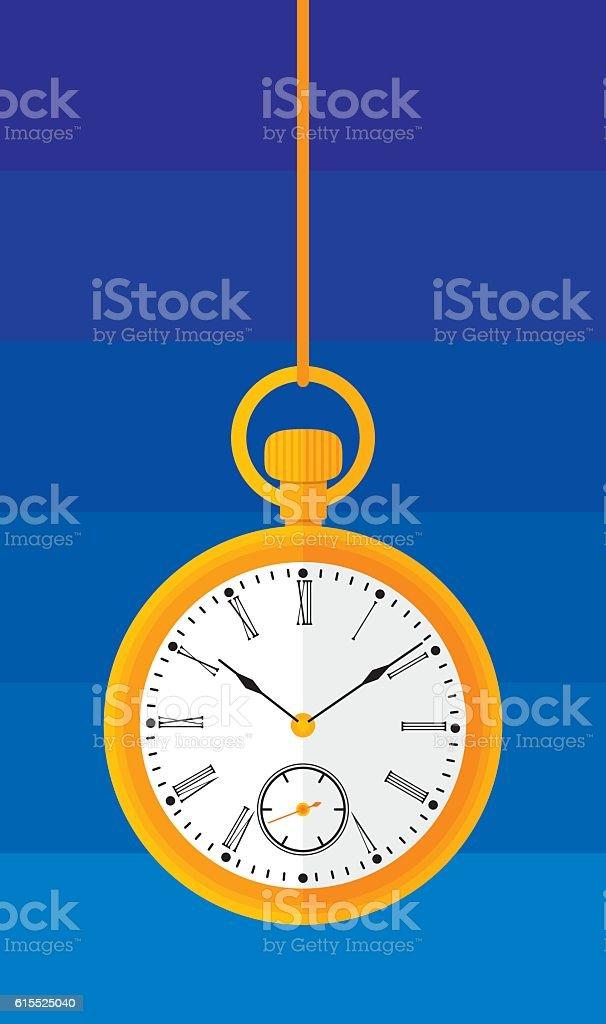 Pocket Watch Flat vector art illustration