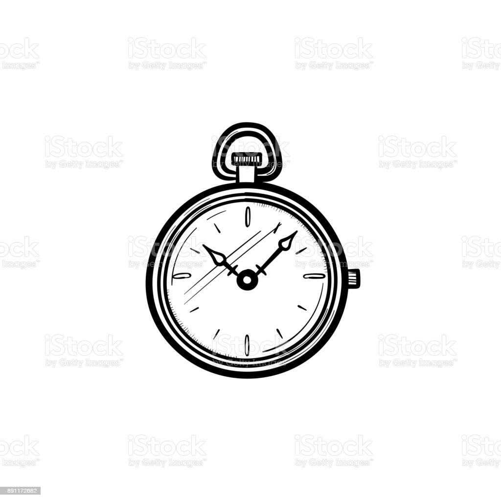 Pocket watch hand drawn sketch icon vector art illustration