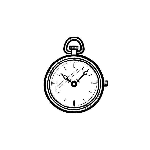 Pocket watch hand drawn sketch icon vector art illustration