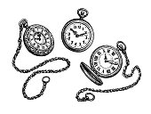 Beautiful vector illustration of six vintage pocket waches hanging on chains. Easy to edit, all elements are grouped and in separate layers,isolated on white background, no effects.