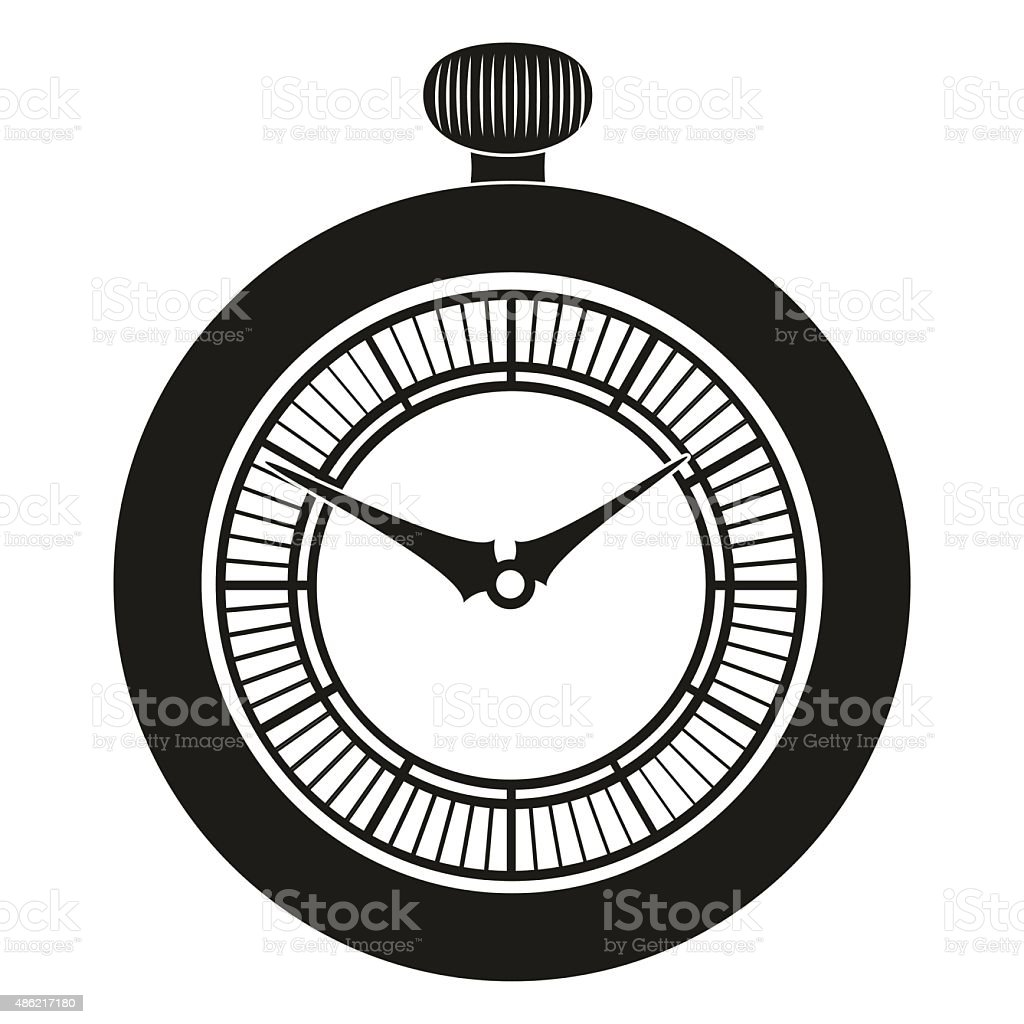 Pocket Watch silhouette vector art illustration