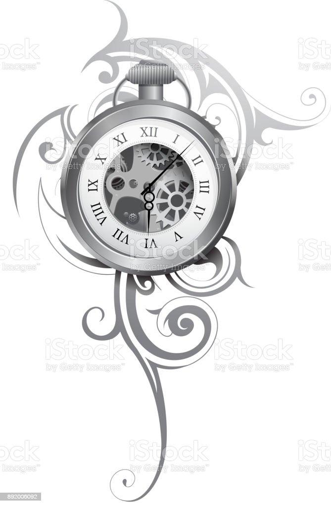 Ilustración De Tatuaje De Reloj De Bolsillo Y Más Banco De Imágenes
