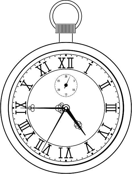 Pocket watch with roman numerals vector art illustration