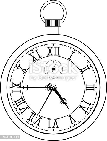 pocket watch with roman numerals stock vector art amp more