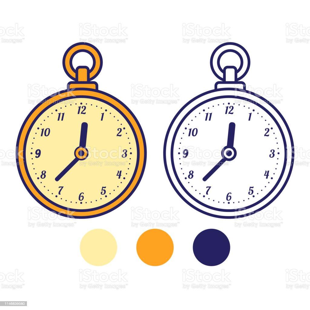 Ilustración De Reloj De Bolsillo Libro Para Colorear Para Niños Y Más Vectores Libres De Derechos De Actividad Istock
