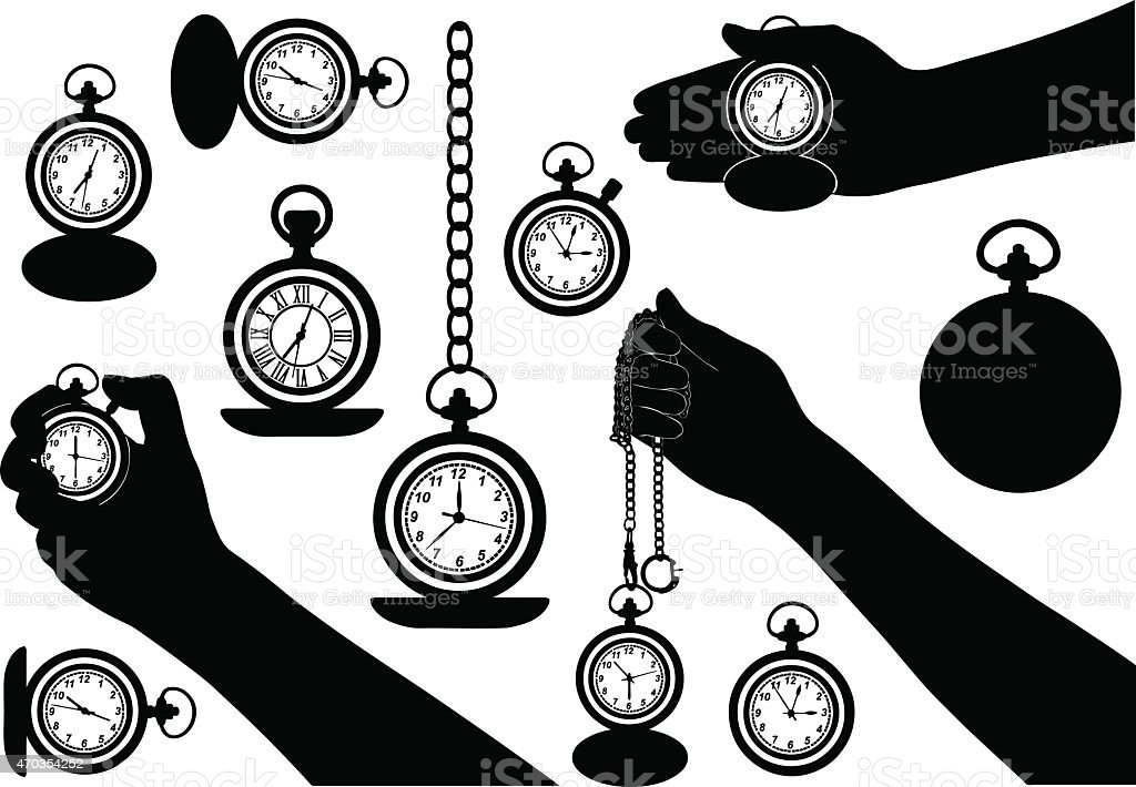 Pocket watches isolated vector art illustration