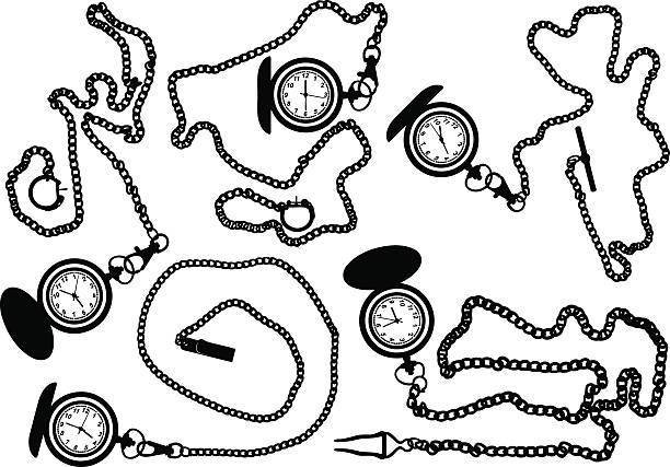 Pocket watches vector art illustration