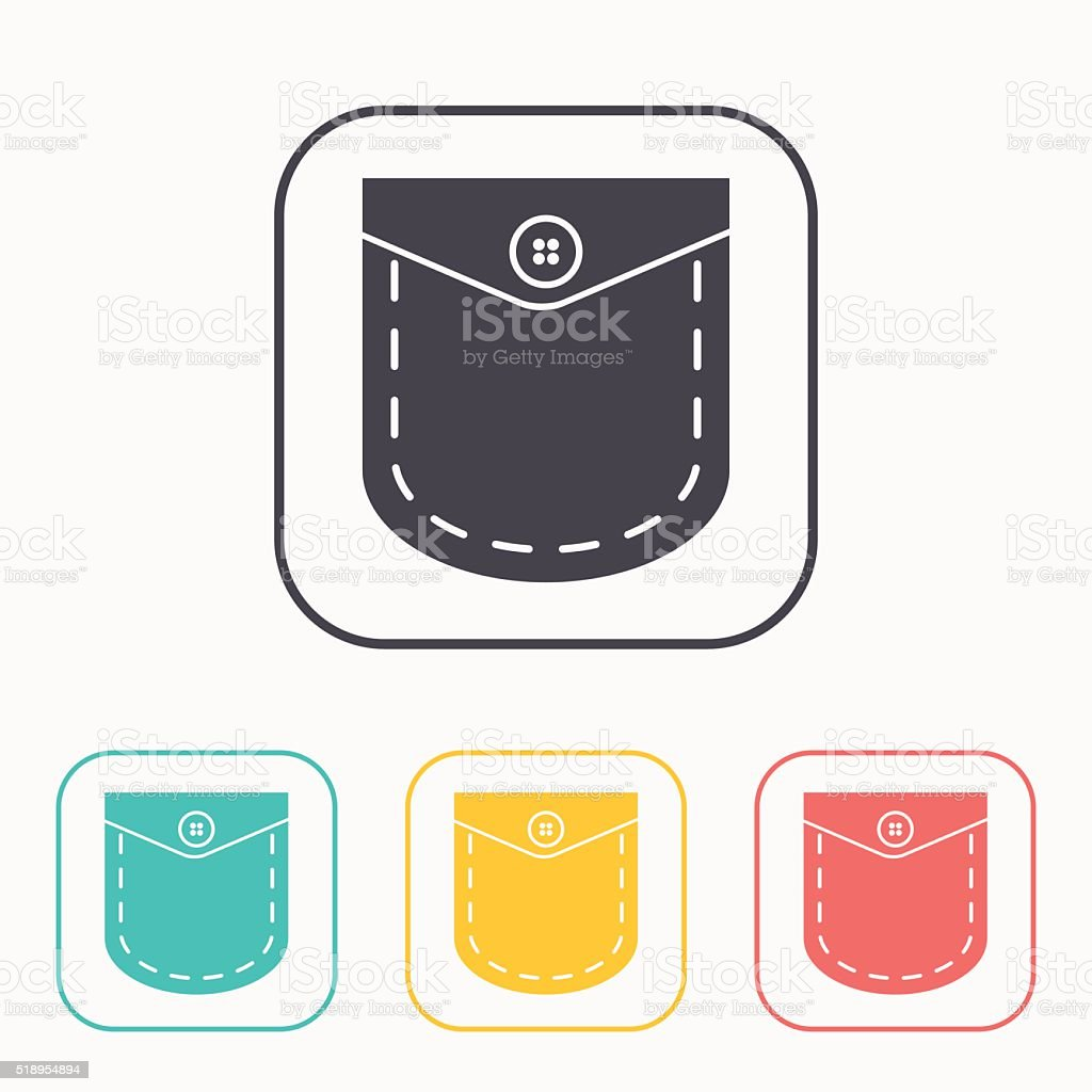 pocket with button vector color icon set vector art illustration