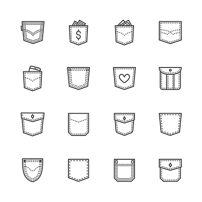 Pockets flat line icons set. Denim clothes, pocket money, mobile phone in jeans vector illustrations. Outline pictogram for clothes store. Pixel perfect 64x64. Editable Strokes