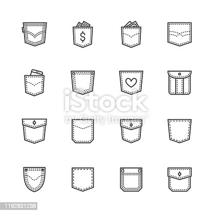Pockets flat line icons set. Denim clothes, pocket money, mobile phone in jeans vector illustrations. Outline pictogram for clothes store. Pixel perfect 64x64. Editable Strokes.