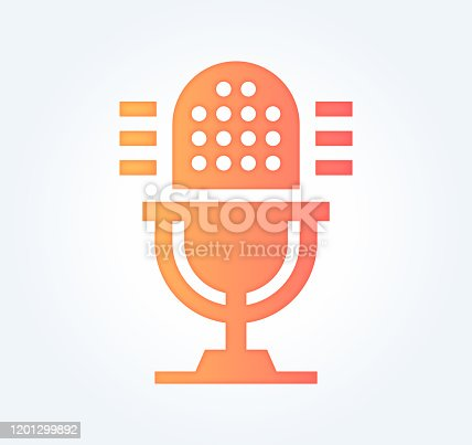 Podcast advertising design with gradient fill painted by path of the icon. Papercut style graphic can also be used as simple vector template for silhouette illustrations.