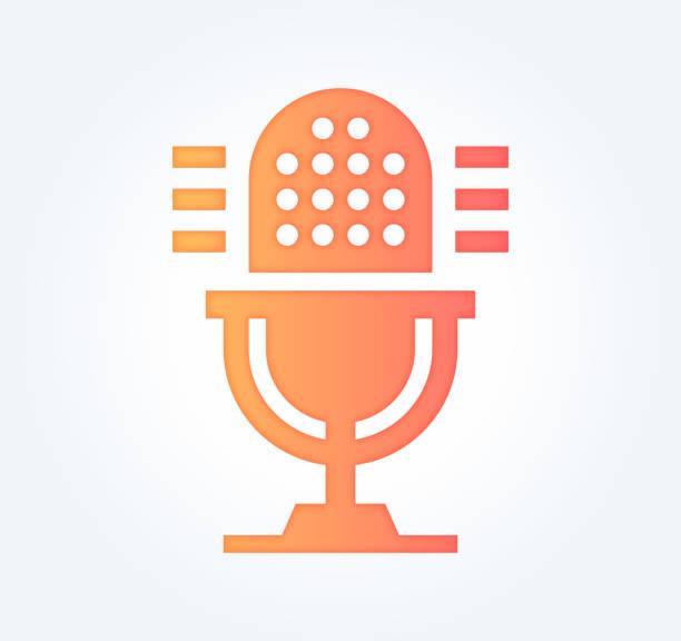 stockillustraties, clipart, cartoons en iconen met podcast reclame verloop vul kleur & papier-cut stijl pictogram ontwerp - podcast