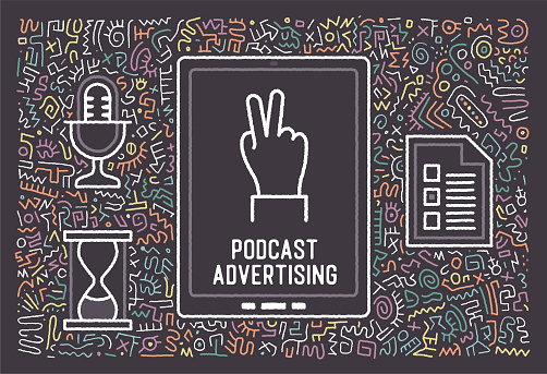 Podcast Advertising Vector Doodle Design