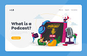 istock Podcast, Audio Program Online Broadcasting Landing Page Template. Tiny Male, Female Characters with Microphone, Headset 1278695318