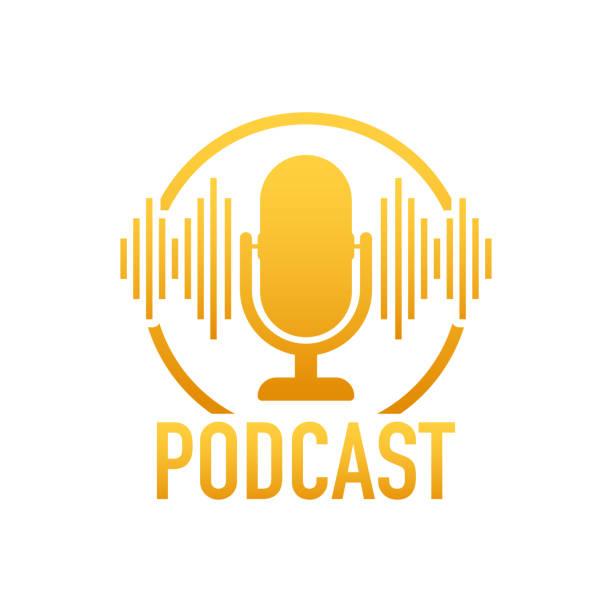 ilustrações, clipart, desenhos animados e ícones de podcast. emblema, ícone, selo, logotipo. ilustração conservada em estoque do vetor. - podcast